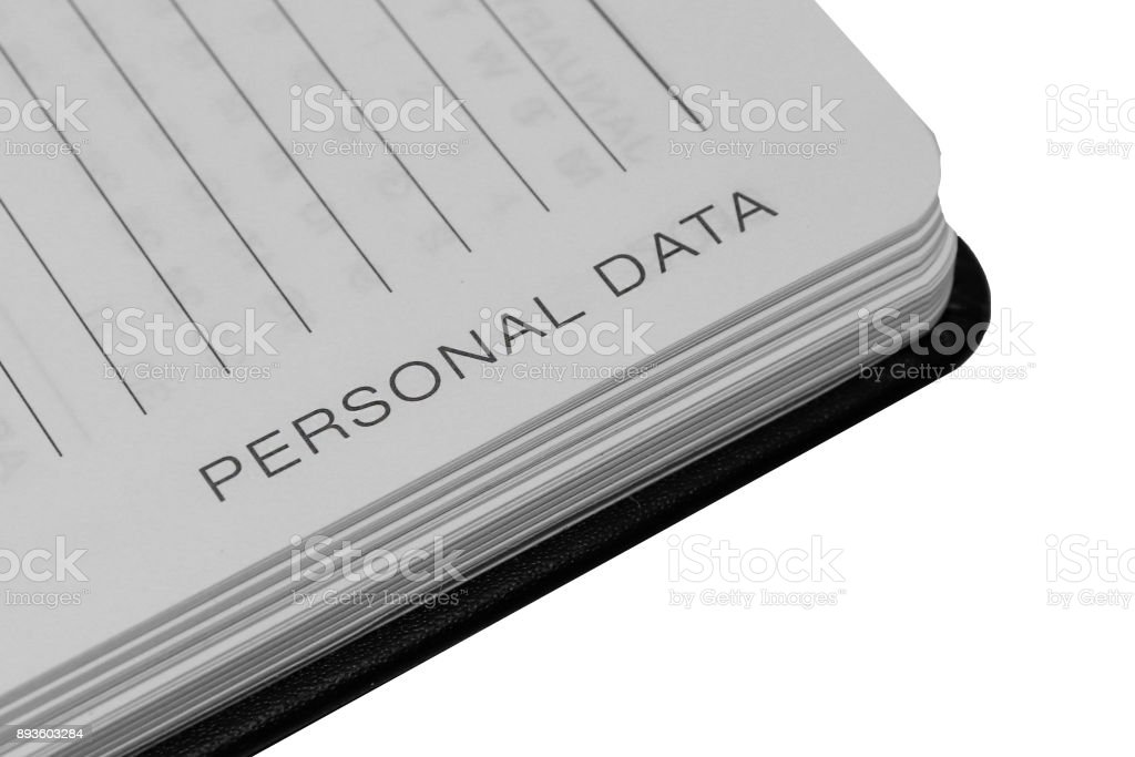 Personal Data Written in Notebook stock photo