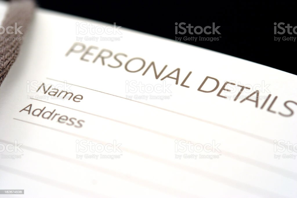 Personal details royalty-free stock photo