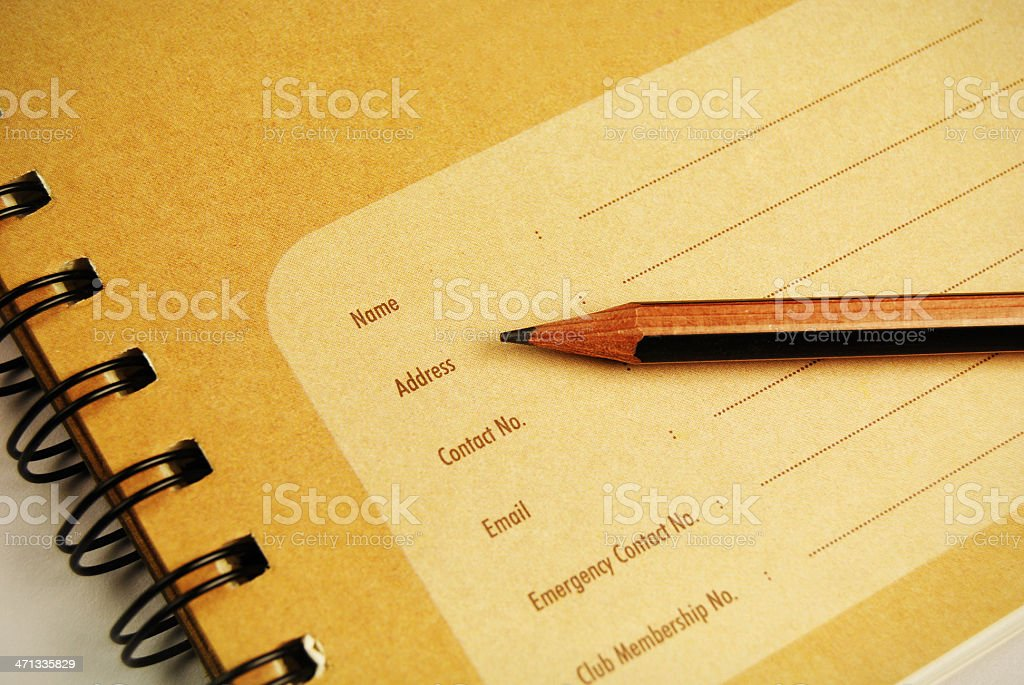 Personal details stock photo