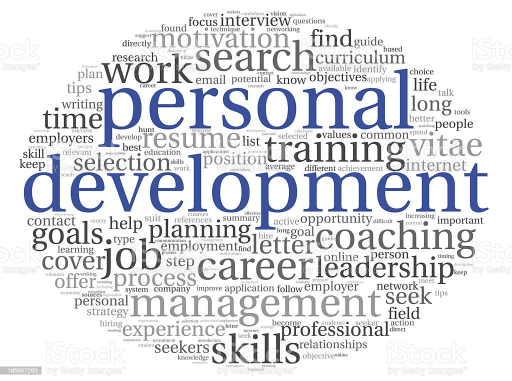 Personal development words in a tag cloud royalty-free stock photo