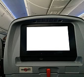 Personal entertainment screen of seat in airplane