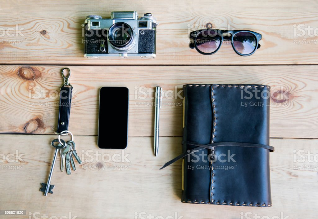 Personal everyday accessories of urban people stock photo