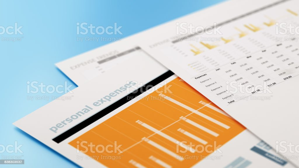 Personal Expenses Form and Financial Charts on Blue Background stock photo