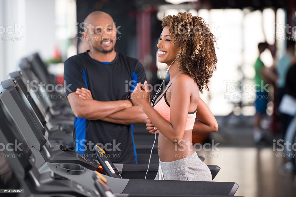 Personal fitness trainer. stock photo