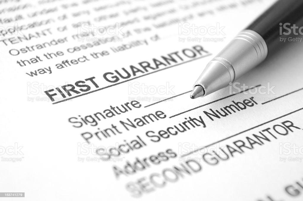Personal Guarantee agreement document stock photo