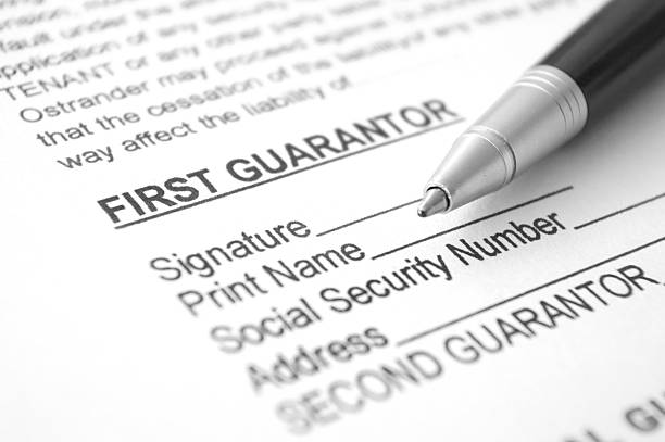 Personal Guarantee agreement document stock photo