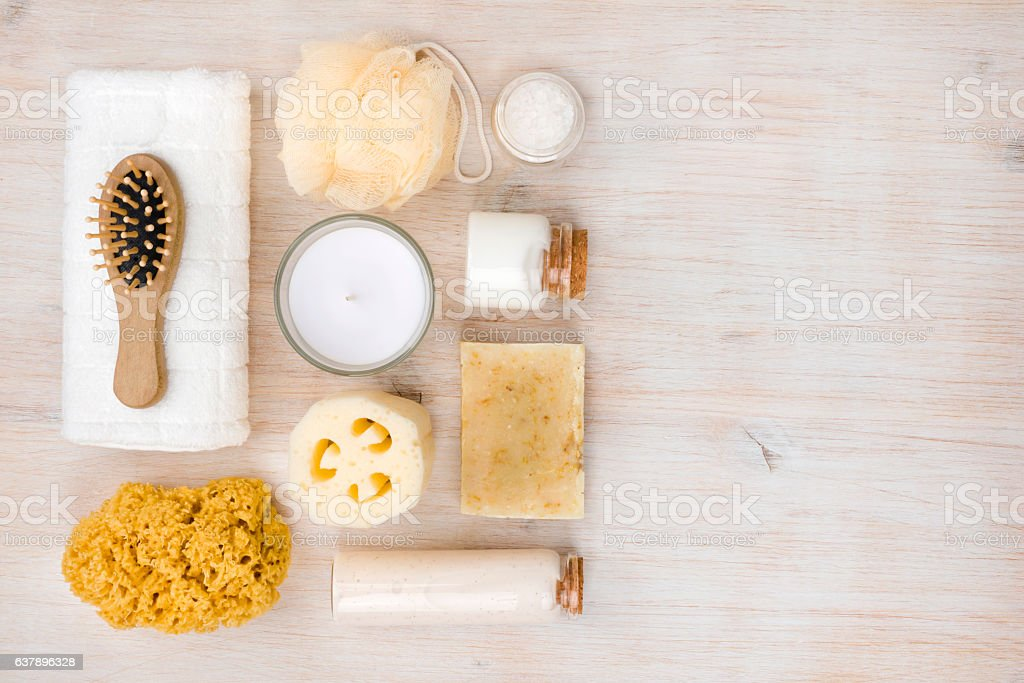 Personal hygiene objects on wood, view from above, right copyspace stock photo