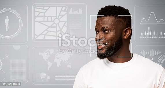 1021681352 istock photo Personal info collection. Facial recognition of African American guy on grey background with digital data, blank space 1216528491
