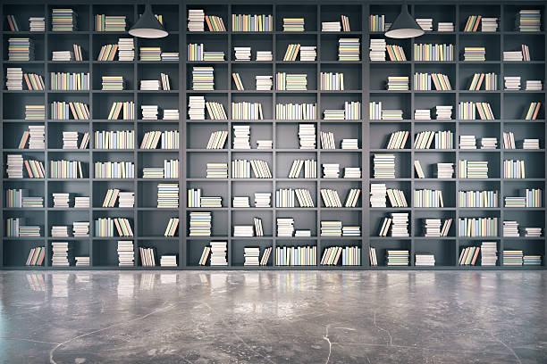 パーソナルライブラリー、大きな 本棚 とコンクリートの床 ストックフォト