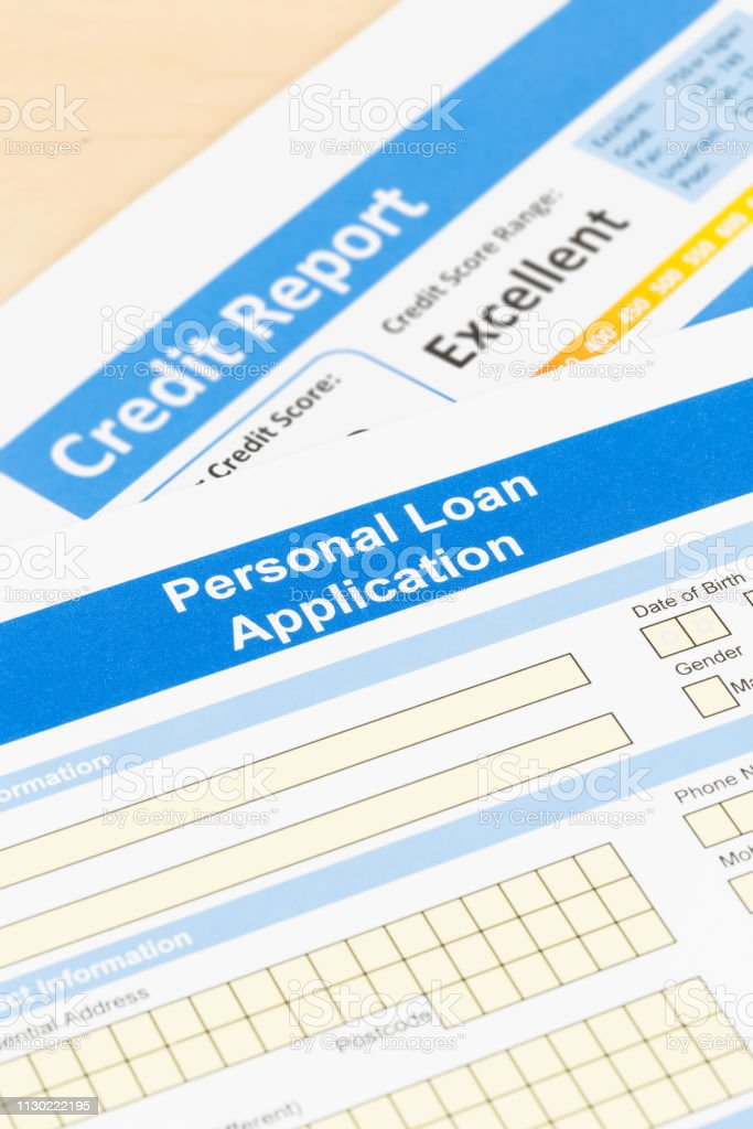 Personal loan application form with excellent credit score