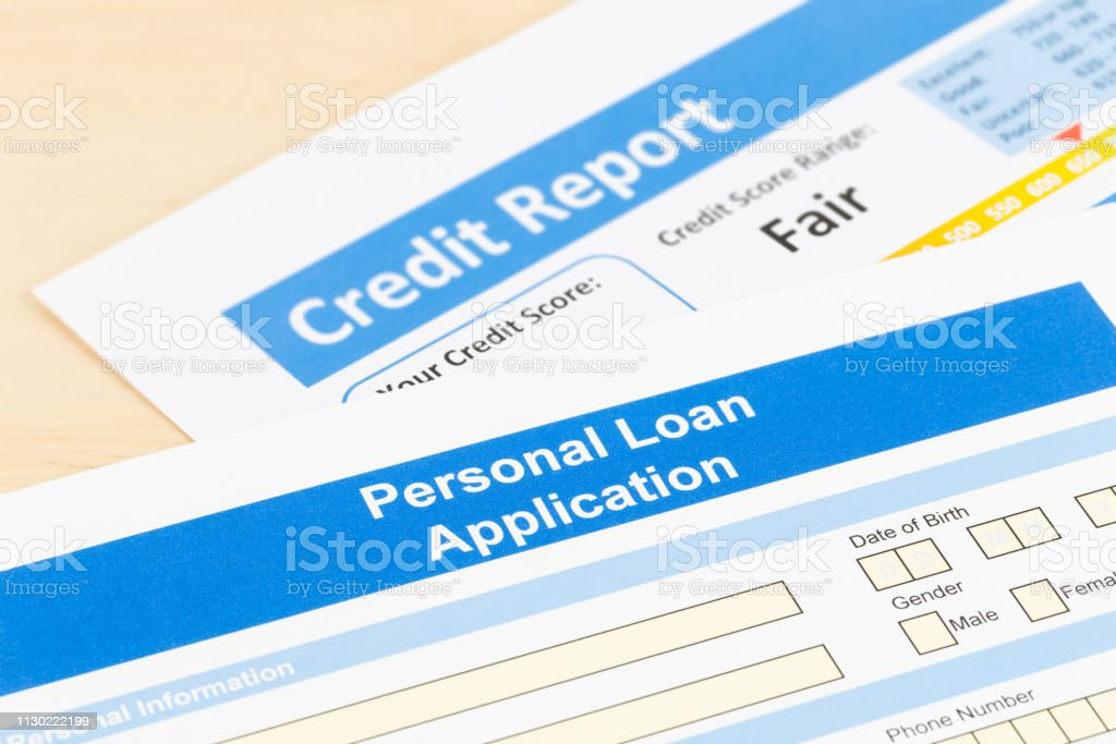 Personal Loans 600 Credit Score >> Personal Loan Application Form With Fair Credit Score Stock