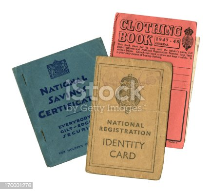 A group of three pieces of British personal paperwork dating form just after World War Two, comprising a National Savings Certificate holder's book, a Clothing Rationing Book and a National Registration Identity Card.