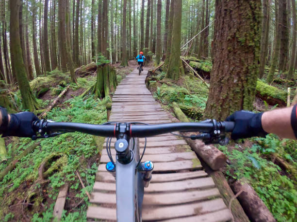 Personal Perspective, Mountain Bikers Crossing Wooden Bridge Through Forest stock photo