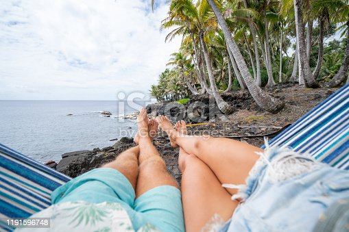 910783248 istock photo Personal perspective of couple relaxing on hammock, feet view 1191596748