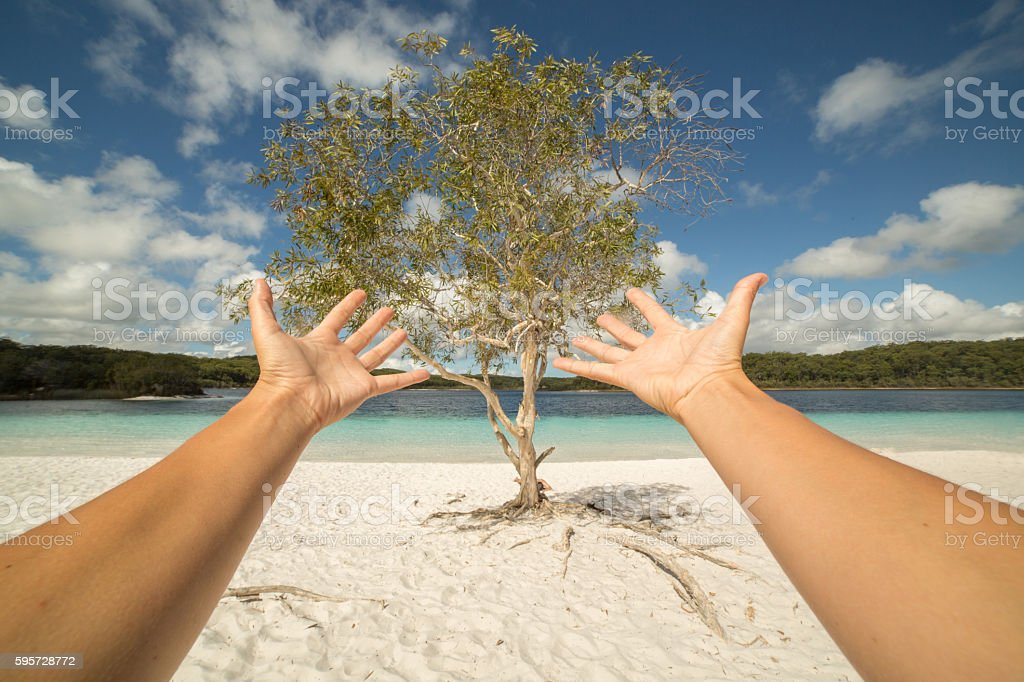 Personal perspective of person stretching arms towards nature stock photo