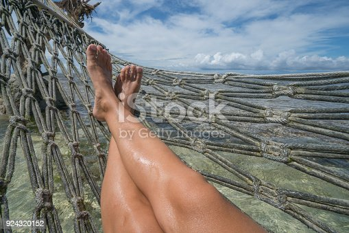910785546 istock photo Personal perspective of woman relaxing on hammock over the sea, feet view 924320152