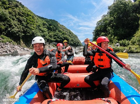 istock Personal point of view of a white water river rafting excursion 994263842