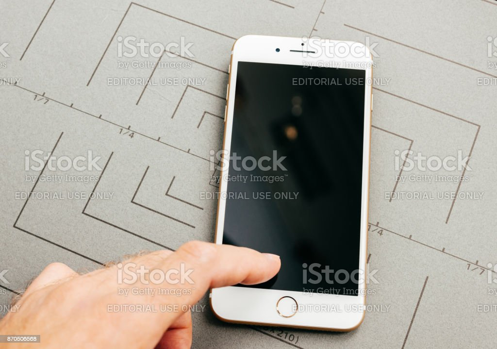 Personal prespective of broken black screen on iPhone 7 Plus the application software stock photo