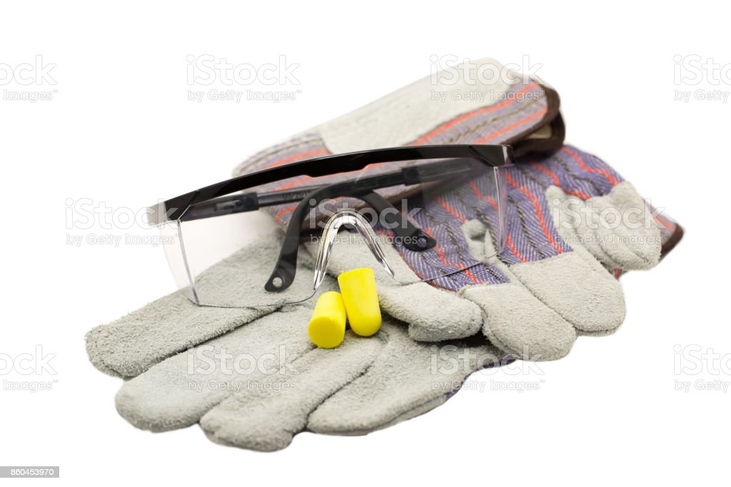 PPE, Personal Protection Equipment including ear plug, glasses and working glove on white background with embeded clipping path royalty-free stock photo