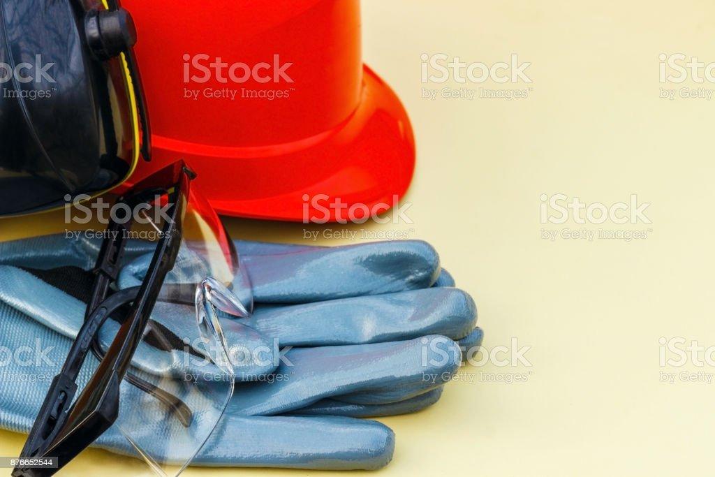 helmet, gloves, goggles.
