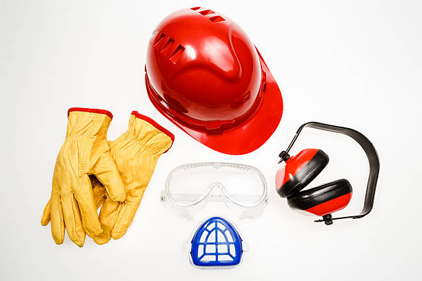 Personal protective equipment on white background stock photo