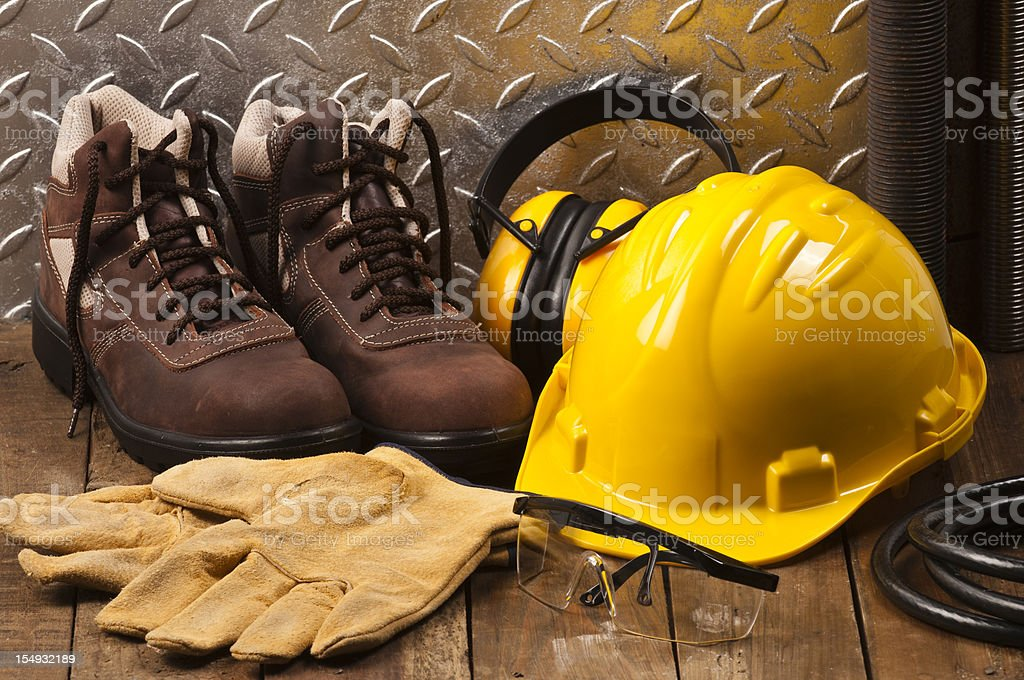 Personal protective workwear on work location stock photo