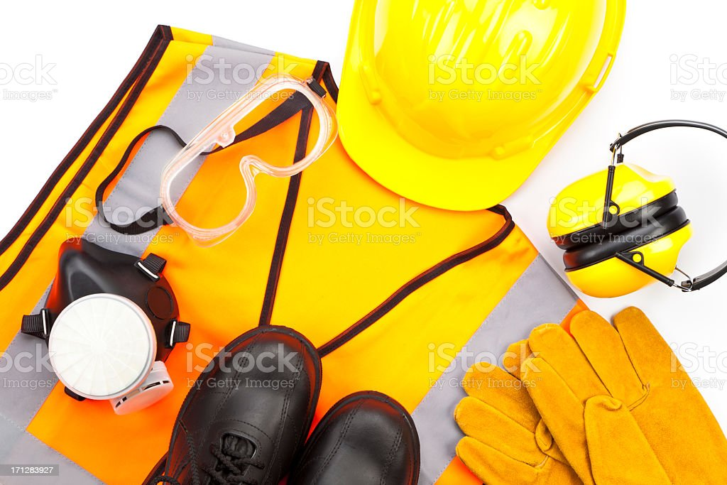 Personal protective workwear shoot from above on white background stock photo