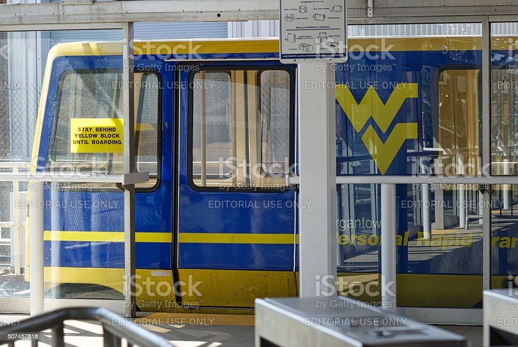 WVU Personal Rapid Transit (PRT) Car at PRT Station stock photo