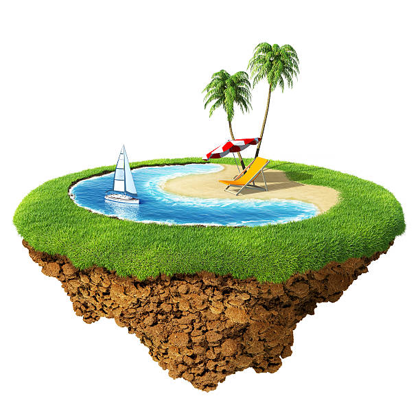 Personal resort on little planet stock photo