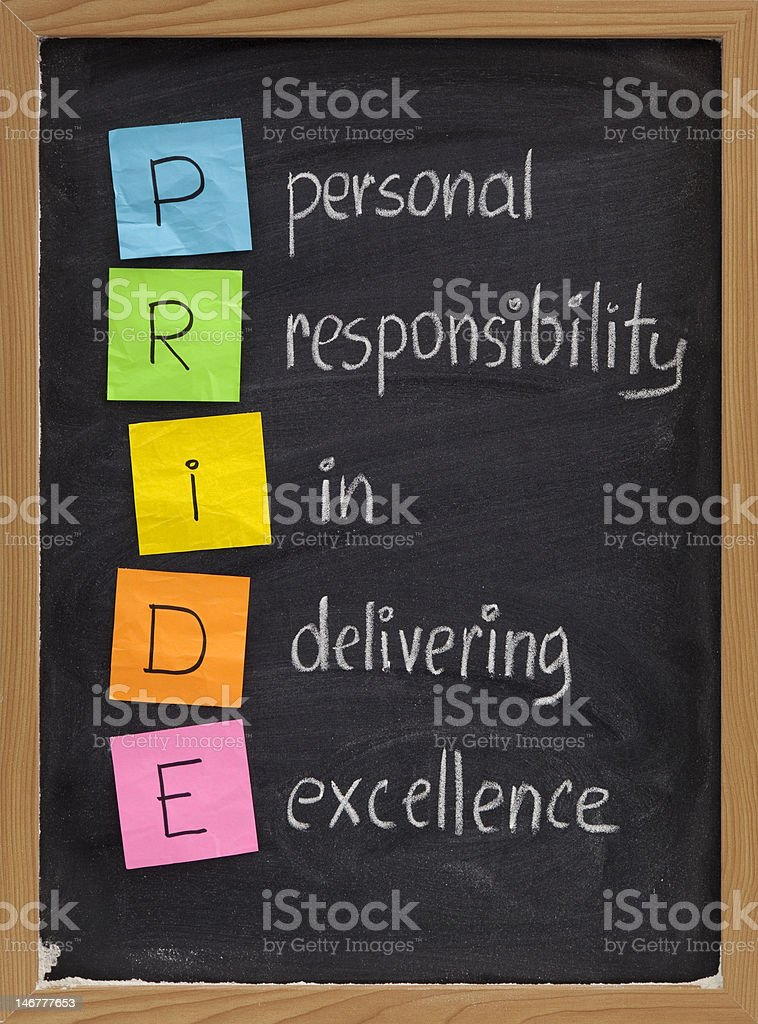 personal responsibility in delivering excellence stock photo