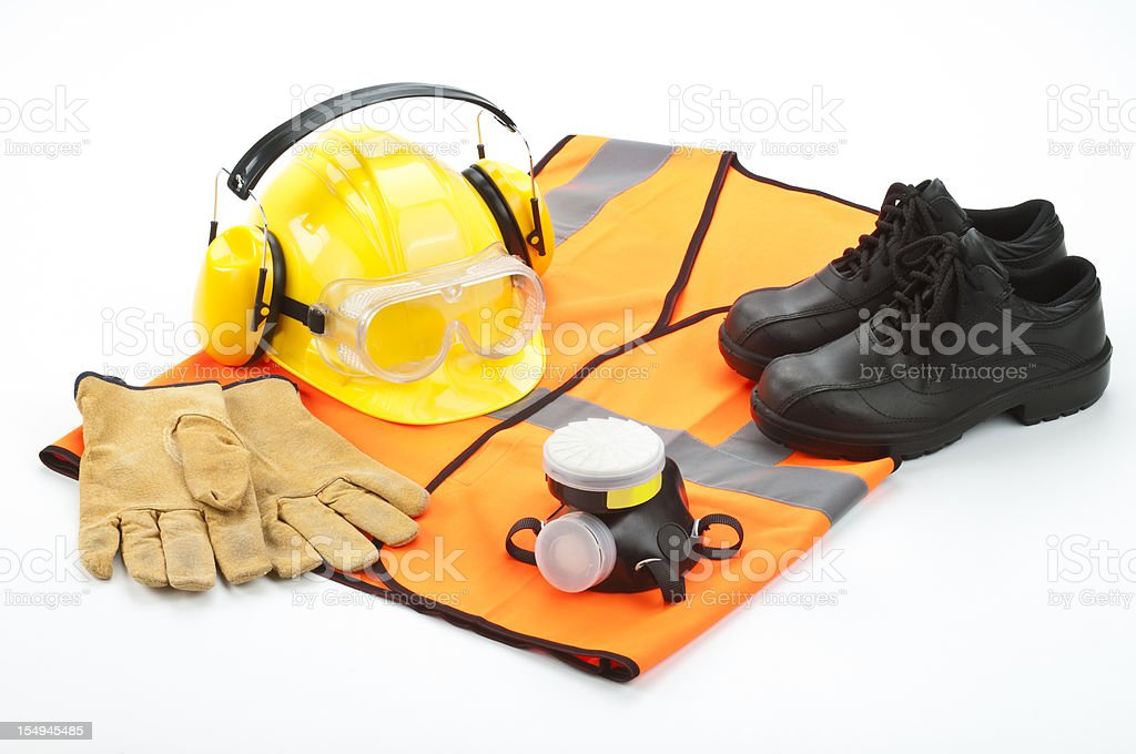 Personal safety workwear isolated on white background royalty-free stock photo