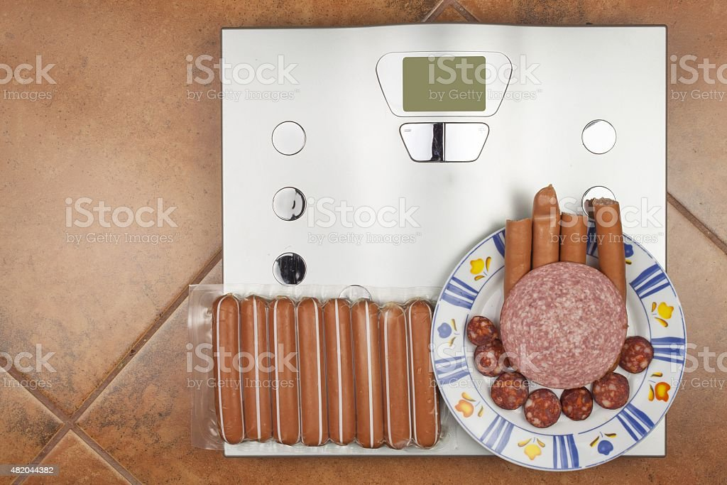 Personal scale in the bathroom. stock photo