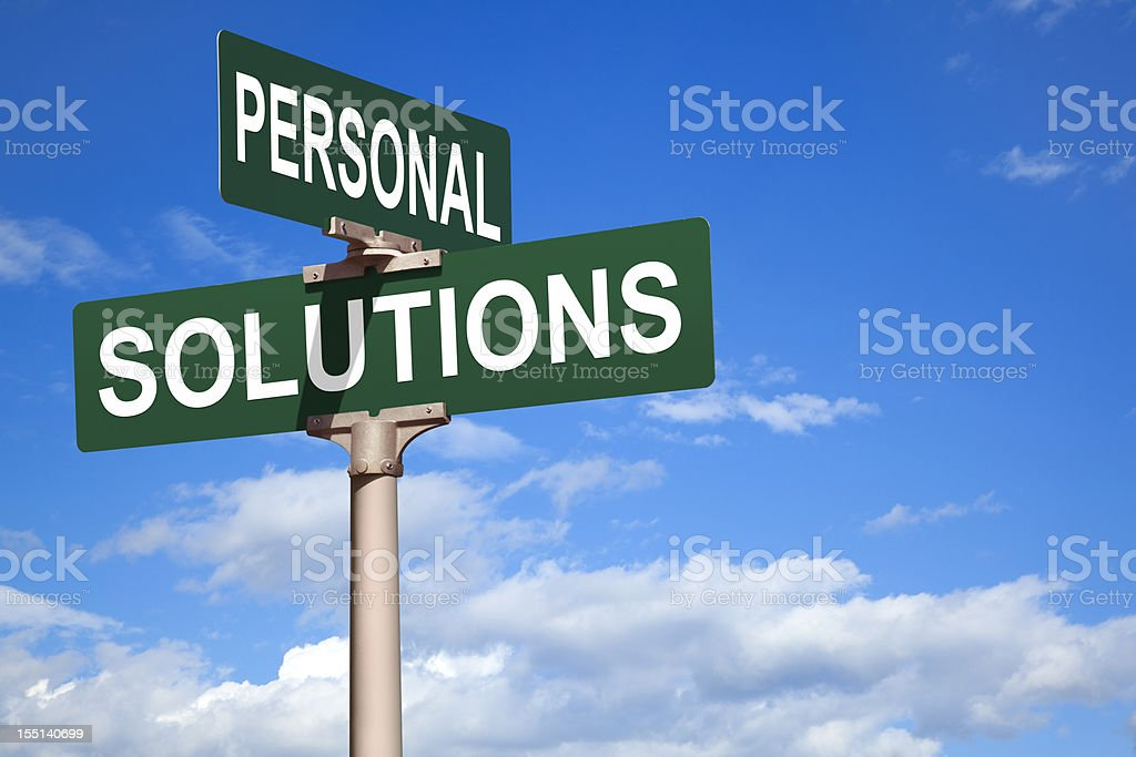 Personal Solutions Street Intersection Sign royalty-free stock photo