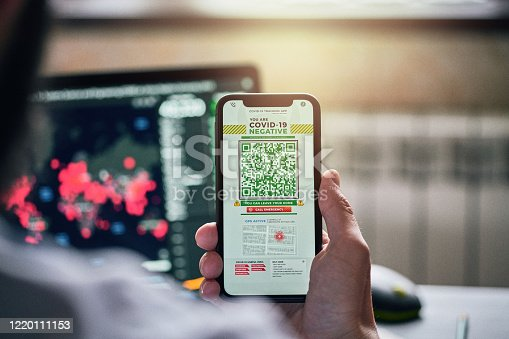 istock Personal tracking App with QR code on a smart phone 1220111153