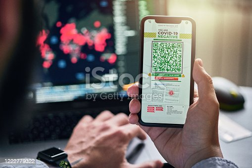 istock Personal tracking App with QR code on a smart phone 1222779322