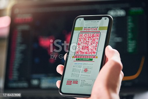 istock Personal tracking App with QR code 1216432899