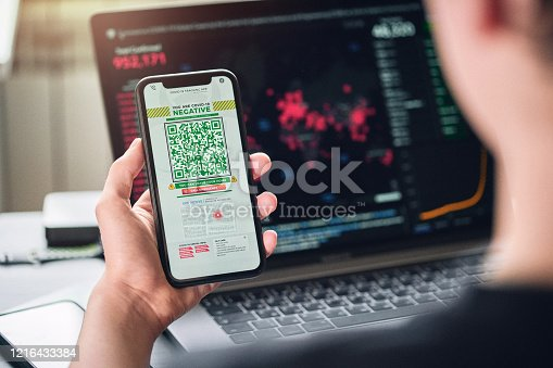 istock Personal tracking App with QR code 1216433384