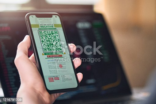 istock Personal tracking App with QR code 1216791709