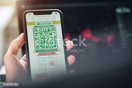 istock Personal tracking App with QR code 1216791751