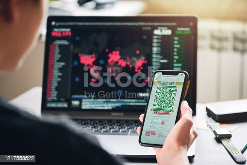 istock Personal tracking App with QR code 1217558522