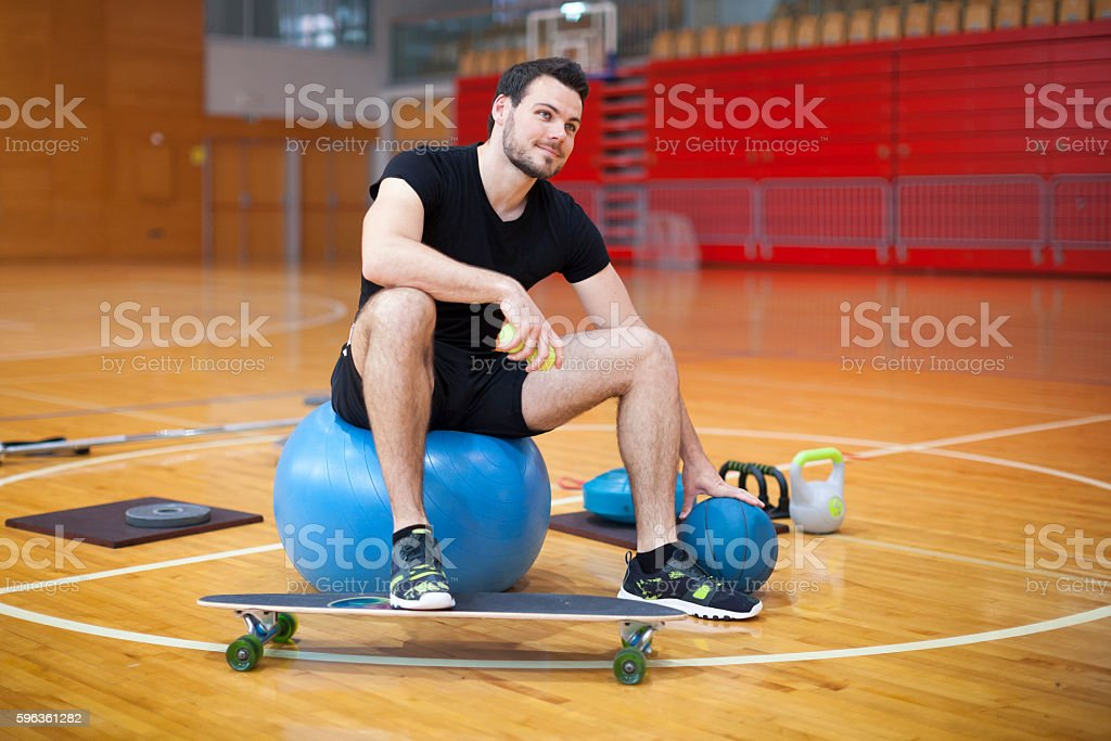Personal Trainer Indoor Looking Right Side royalty-free stock photo