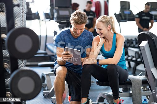 istock Personal Trainer with woman 679305286
