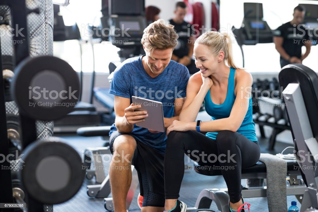 Personal Trainer with woman stock photo