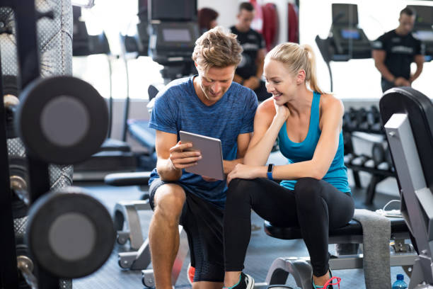 personal trainer with woman - coach stock photos and pictures