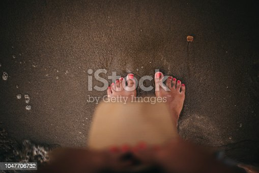 istock Personal View Of Woman Legs in sea water 1047706732