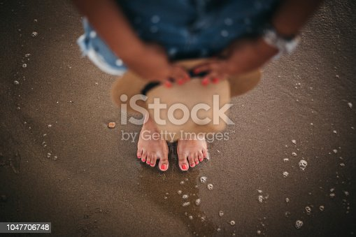 522909925 istock photo Personal View Of Woman Legs in sea water 1047706748