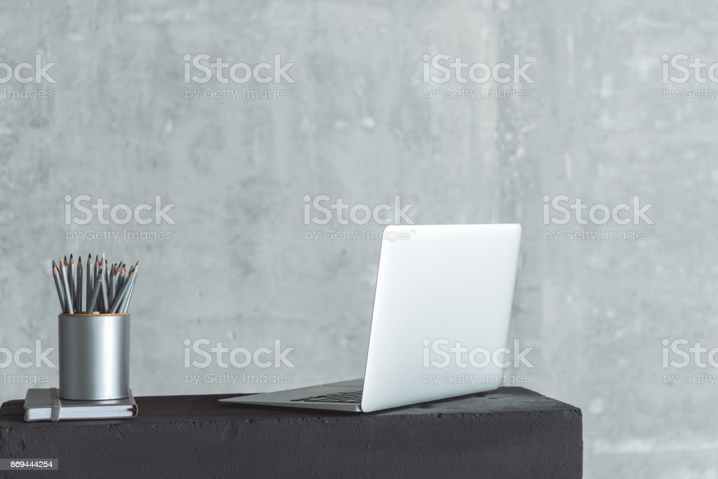 Personal workplace of qualified employee stock photo
