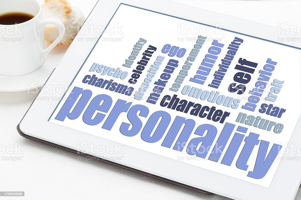 personality word cloud on tablet stock photo