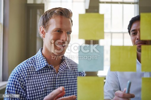 Cropped shot of two businessmen preparing for a presentation by using adhesive notes