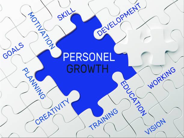 Crecimiento personal - concepto de rompecabezas - foto de stock